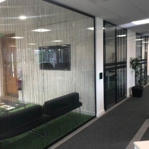 Glass partition single glazed black framed